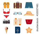 collection of summer icons in... | Shutterstock .eps vector #410337481