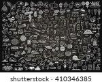 Set of food and drinks doodle on chalkboard background. | Shutterstock vector #410346385