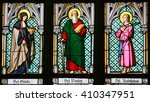 Small photo of PRAGUE, CZECH REPUBLIC - APRIL 2, 2016: Stained Glass window in St. Vitus Cathedral, Prague, depicting Saint Gisela, Saint Paul and Saint Rudolph