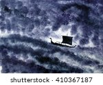 Stock photo viking ship and a night storm 410367187