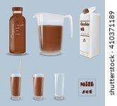 milk carton with glass. bottle... | Shutterstock .eps vector #410371189