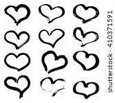 set of ink grunge hearts on... | Shutterstock .eps vector #410371591