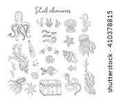 vector hand drawn vintage sea... | Shutterstock .eps vector #410378815