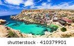 famous popeye village in malta | Shutterstock . vector #410379901
