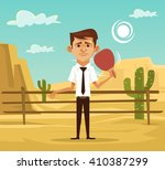 Man In Desert. Vector Flat...