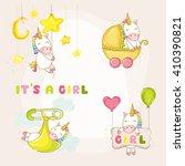 cute unicorn set. baby shower... | Shutterstock .eps vector #410390821