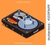 hdd maintenance process. 3d... | Shutterstock .eps vector #410395699