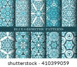 set of blue kaleidoscope... | Shutterstock .eps vector #410399059