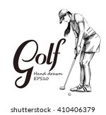 golf poster with golf player... | Shutterstock .eps vector #410406379