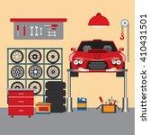 flat vector workshop car repair | Shutterstock .eps vector #410431501