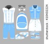 set of trendy women's and men's ... | Shutterstock .eps vector #410432224