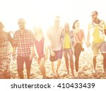 diverse beach summer friends... | Shutterstock . vector #410433439