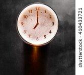 clock symbol on foam in beer... | Shutterstock . vector #410433721