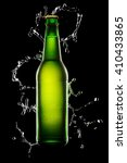 Green Wet Bottle Of Beer On...