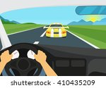 man is driving racing speed... | Shutterstock .eps vector #410435209