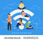 young man sitting on the wi fi... | Shutterstock .eps vector #410435221