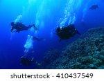 unusual photo diver underwater... | Shutterstock . vector #410437549