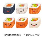 fun sushi vector with cute... | Shutterstock .eps vector #410438749
