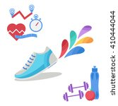 vector fitness icons in flat... | Shutterstock .eps vector #410444044