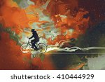 Silhouettes Of Man On Bicycle...