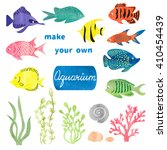 set of different fishes and... | Shutterstock .eps vector #410454439