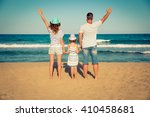 happy family having fun on the... | Shutterstock . vector #410458681