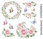 watercolor wreaths  bouquets... | Shutterstock . vector #410460061