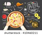 italian pizza recipe. hawaiiana ... | Shutterstock .eps vector #410460211