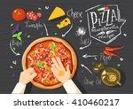 italian pizza recipe.... | Shutterstock .eps vector #410460217