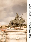 horse and rider statue lisbon | Shutterstock . vector #410481199