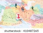 pinned on map of dubai in uae... | Shutterstock . vector #410487265
