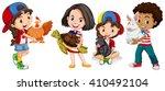 children with domestic animals... | Shutterstock .eps vector #410492104