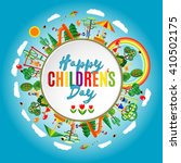 Happy childrens day background. Vector illustration of Universal Children day poster. Greeting card. Flat. Round frame.  | Shutterstock vector #410502175