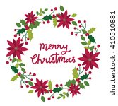 christmas card with wreath...   Shutterstock .eps vector #410510881