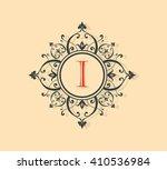 letter i floral monogram. | Shutterstock .eps vector #410536984