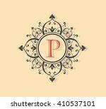 letter p floral monogram. | Shutterstock .eps vector #410537101