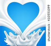 dairy splash on a blue...   Shutterstock . vector #410551099