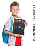 happy boy with backpack and... | Shutterstock . vector #410553415