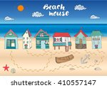 Beach Huts And Bungalows  Hand...