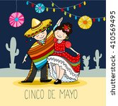 mexican couple   dancers in the ... | Shutterstock .eps vector #410569495