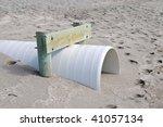 Drainage Pipe to Control Beach Erosion - stock photo
