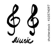 black ink brush drawn treble... | Shutterstock .eps vector #410574097