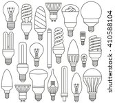 ligth lamps set. outlined icons ... | Shutterstock .eps vector #410588104