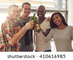 diverse group of four young... | Shutterstock . vector #410616985