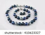 blue pearl necklace with... | Shutterstock . vector #410623327