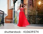 portrait of fashionable girl at ... | Shutterstock . vector #410639374