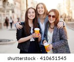 three young women  best friends ...   Shutterstock . vector #410651545