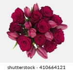Stock photo red roses red tulips bouquet on isolated white background 410664121