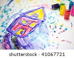 child fingerpainting of a house ... | Shutterstock . vector #41067721