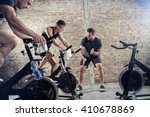 fit young people on exercise... | Shutterstock . vector #410678869